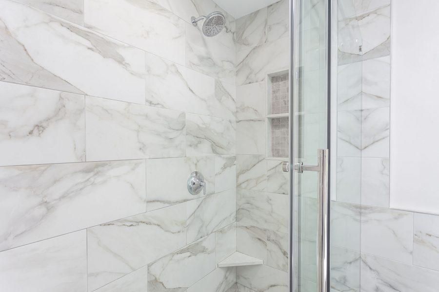 BT White Marmi Calacatta Porcelain Shower Wall Tile