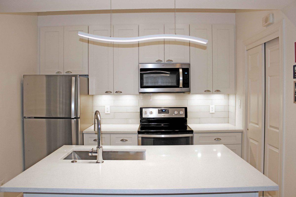 White Kitchen with Pendant Light