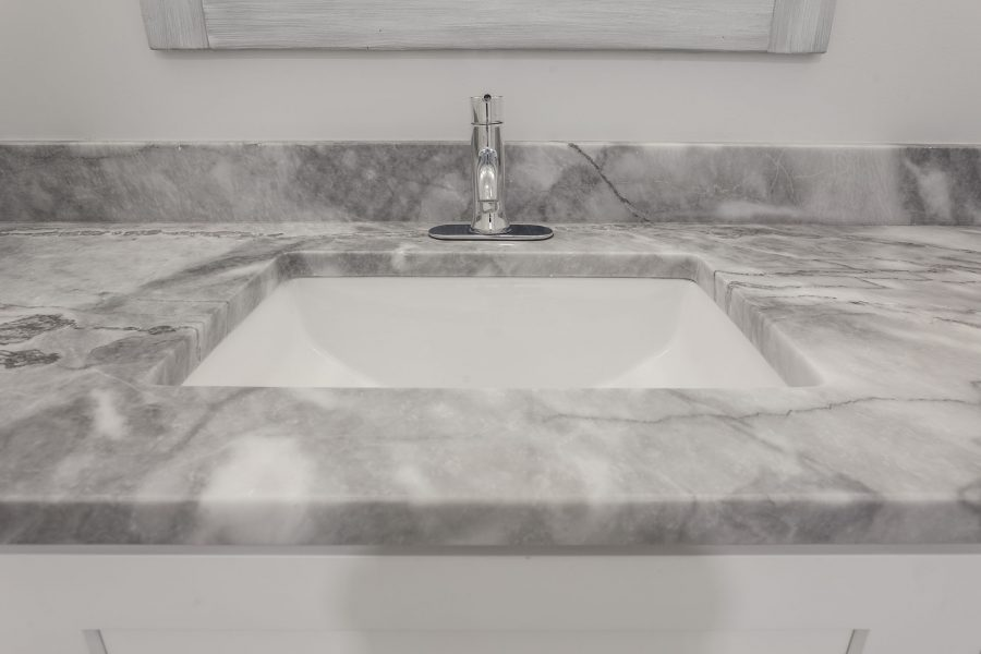 Bathroom Vanity Sink with a Marble Countertop