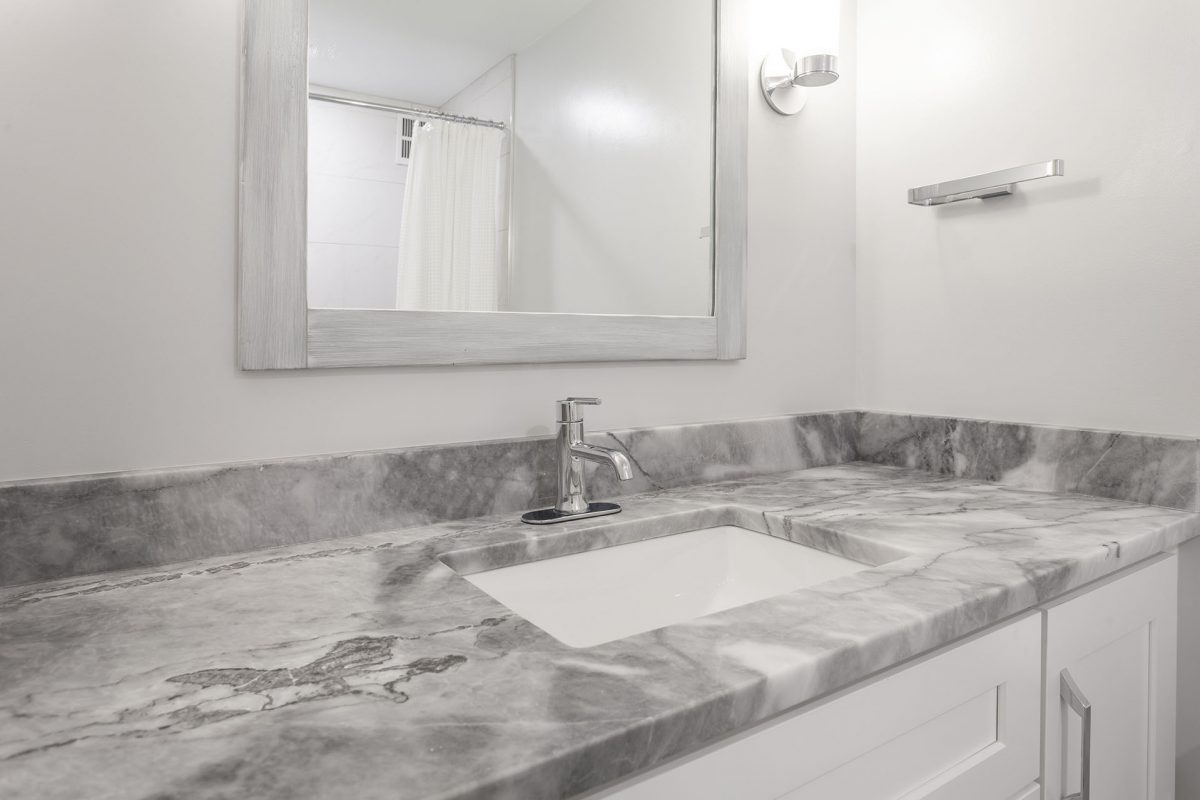 Bursa Turkish Marble Vanity Countertop with Sconce Lights
