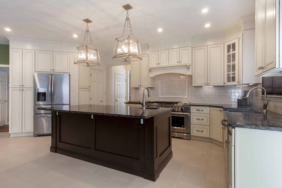 Dark-Light color cabinet combination and nice trim work for the island finishes.