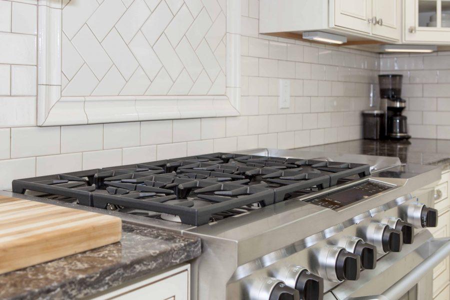 6-Burner stove with British Herringbone style backsplash accent