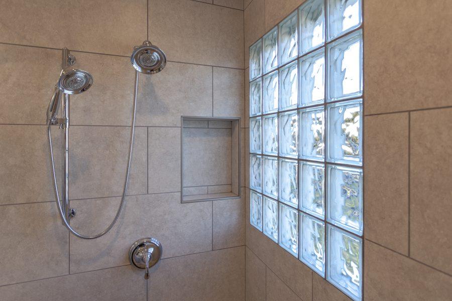 Glass block window for shower