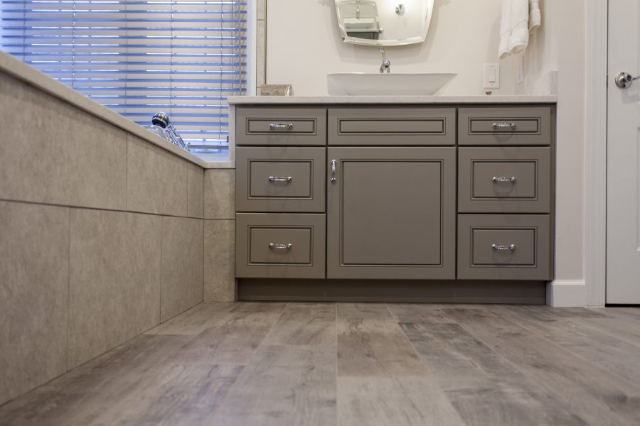 Gray vanity cabinets