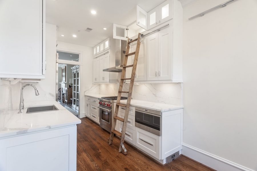 Rolling Library Ladder & Double Stack Wall Cabinets