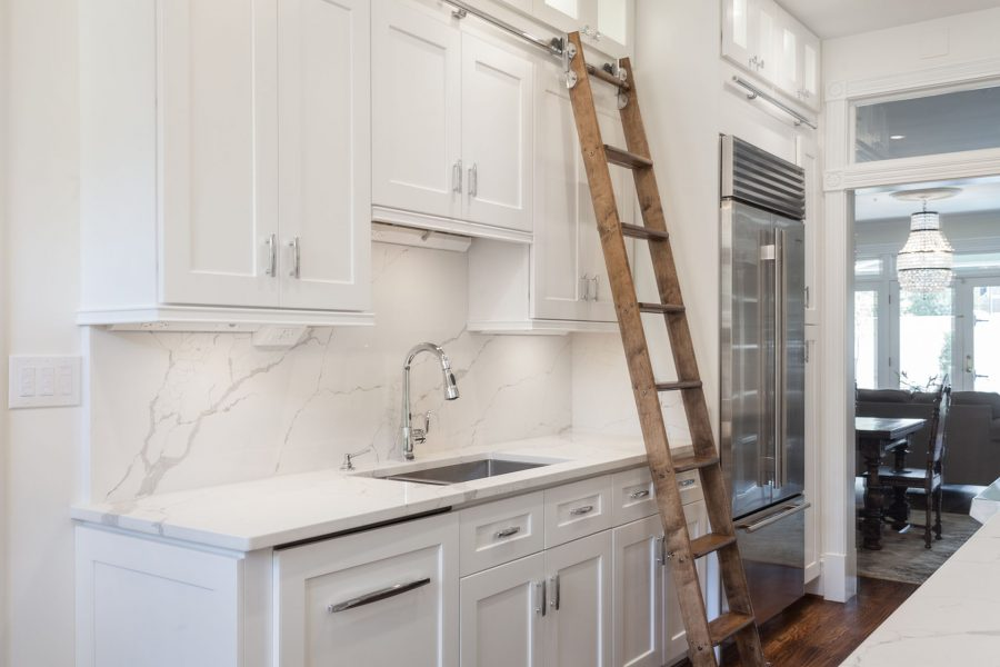 Rolling ladder and undermount stainless steel sink