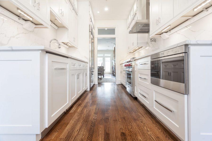 Galley Kitchen white shaker cabinets