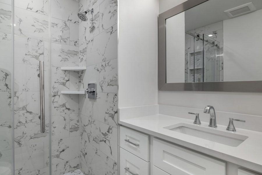 MSI Arctic White quartz vanity countertop