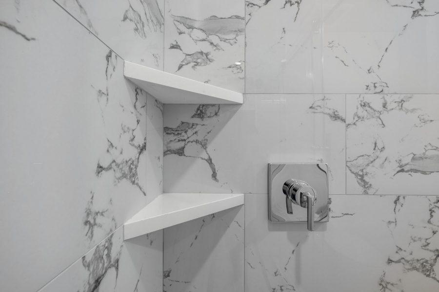 Shower Shelves made with MSI Arctic White quartz